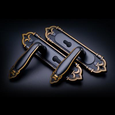 欧式室内门锁 木门钢木门铝合金执手锁 黑黄古房门锁 厂家直销